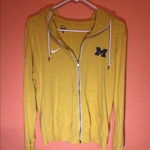 Nike Yellow Michigan Zip-up Hoodie/Jacket!